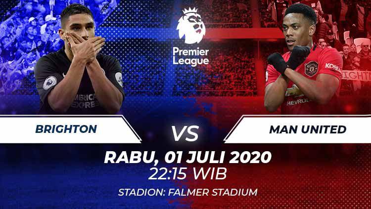 Berikut prediksi pertandingan Brighton vs Manchester United di ajang Liga Inggris pekan ke-32, Rabu (1/7/2020) pukul 02.15 WIB di Stadion Falmer. Copyright: © Grafis:Frmn/Indosport.com