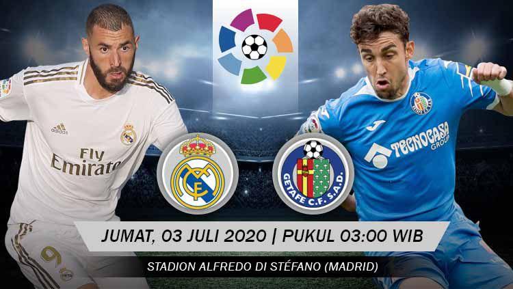 Link live streaming pertandingan LaLiga Spanyol hari ini atau esok Jumat (03/07/20) dini hari WIB antara Real Madrid vs Getafe di Estadio Stefano Di Alfredo. Copyright: © Grafis: Yanto/INDOSPORT
