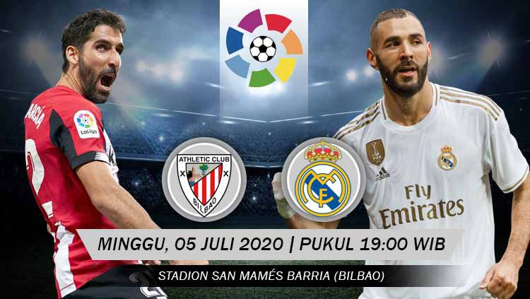 Berikut prediksi pertandingan Athletic Bilbao vs Real Madrid di ajang LaLiga Spanyol pekan ke-34, Minggu (05/07/20) pukul 19.00 WIB di San Mames. Copyright: © Grafis: Yanto/INDOSPORT