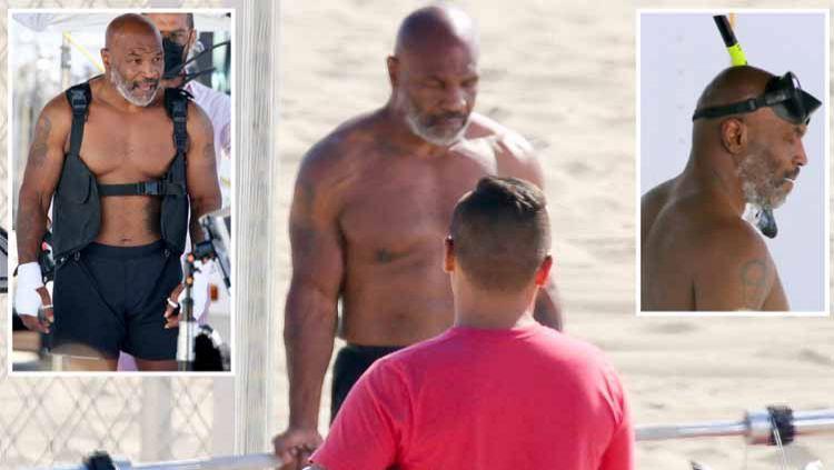 Legenda tinju Mike Tyson giat berlatih jelang comebacknya. Akibatnya berat badannya pun turun drastis hingga di bawah juara kelas berat saat ini Anthony Joshua. Copyright: © Thesun/BackGrid