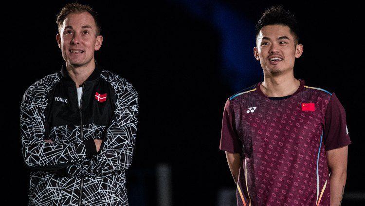 Dua legenda badminton dunia, Peter Gade dan Lin Dan. Copyright: © Shi Tang/Getty Images