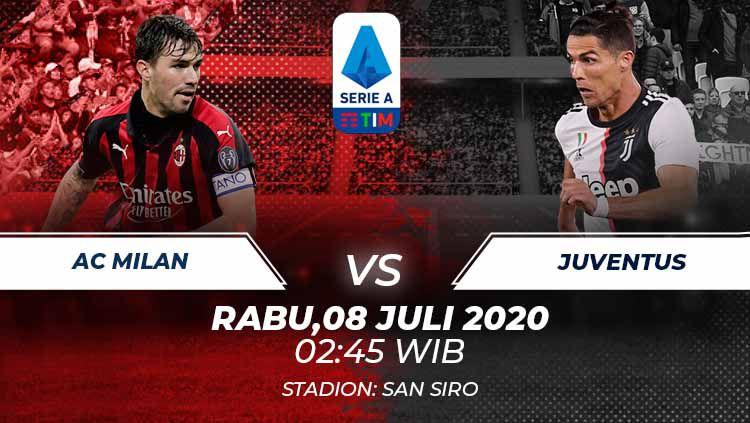Berikut link live streaming pertandingan antara AC Milan vs Juventus di pekan ke-31 Serie A Italia, Rabu (08/07/20) pukul 02.45 dini hari WIB. Copyright: © Grafis:Frmn/Indosport.com