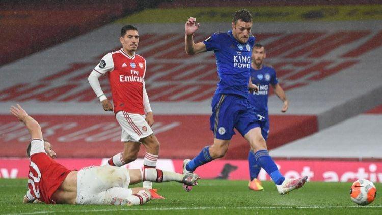 Hasil pertandingan Arsenal vs Leicester City di pentas Liga Inggris 2019-20 berakhir dengan imbang 1-1, Rabu (07/07/20) dini hari. Copyright: © Shaun Botterill/Getty Images