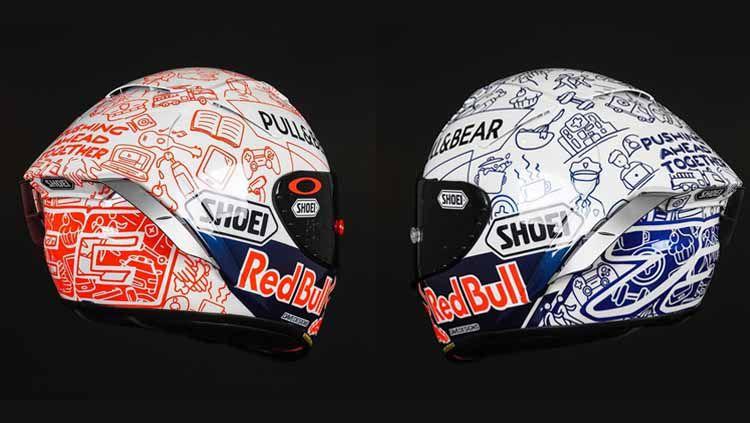 Helm baru Marc Marquez dan Alex Marquez. Copyright: © instagram.com/dave_designs