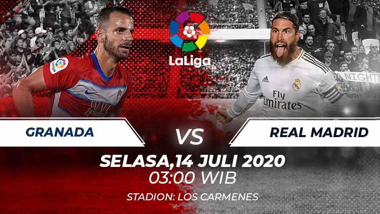 Berikut prediksi pertandingan Granada vs Real Madrid yang akan tersaji di pekan ke-36 LaLiga Spanyol, Selasa (14/07/20). Copyright: © Grafis:Frmn/Indosport.com