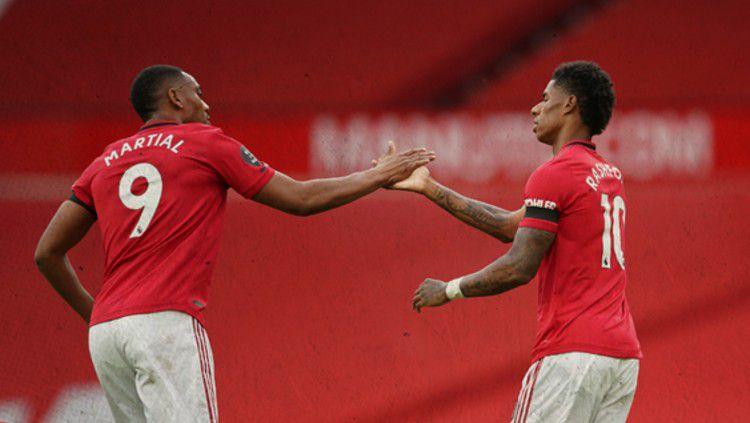 Anthony Martial dan Marcus Rashford ternyata membawa masalah ke raksasa Liga Inggris, Manchester United. Copyright: © https://twitter.com/ManUtd