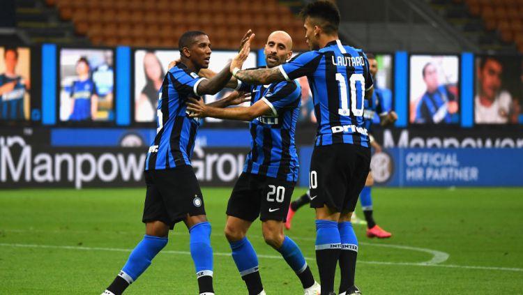 Selebrasi para pemain Inter Milan usai mencetak gol ke gawang Torino Copyright: © Claudio Villa - Inter/Inter via Getty Images