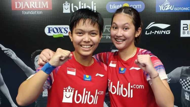 Ribka Sugiarto/Siti Fadia Silva Ramadhanti di Mola TV PBSI Home Tournament. Copyright: © Badminton Indonesia