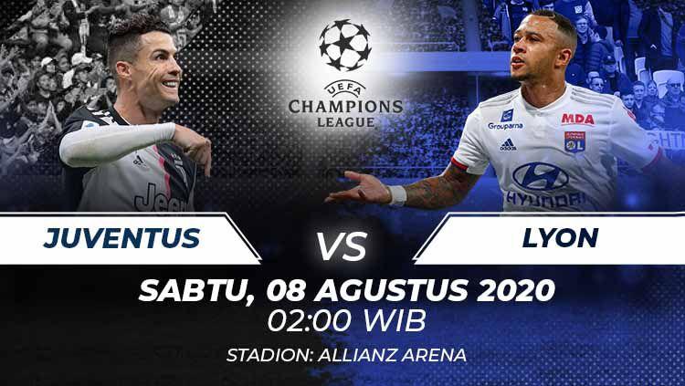 Berikut prediksi pertandingan antara Juventus vs Olympique Lyon pada leg kedua babak 16 besar Liga Champions, Sabtu (08/08/20) dini hari WIB. Copyright: © Grafis:Frmn/Indosport.com