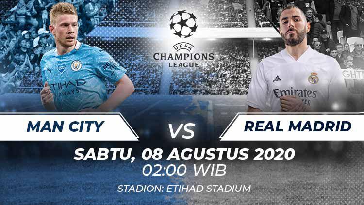 Berikut link live streaming pertandingan leg kedua babak 16 besar Liga Champions antara Manchester City menghadapi Real Madrid Sabtu (08/08/20) dini hari WIB. Copyright: © Grafis:Frmn/Indosport.com