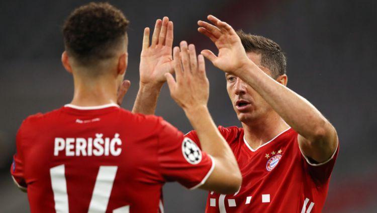 Bekuk Chelsea 4-1 di leg kedua babak 16 besar Liga Champions, Minggu (09/08/20) dini hari WIB, Bayern Munchen melaju ke perempat final dengan agregat 7-1. Copyright: © A. Hassenstein/Getty Images for FC Bayern