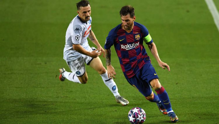 Aksi Lionel Messi di laga Liga Champions antara Barcelona vs Napoli Copyright: © David Ramos/Getty Images