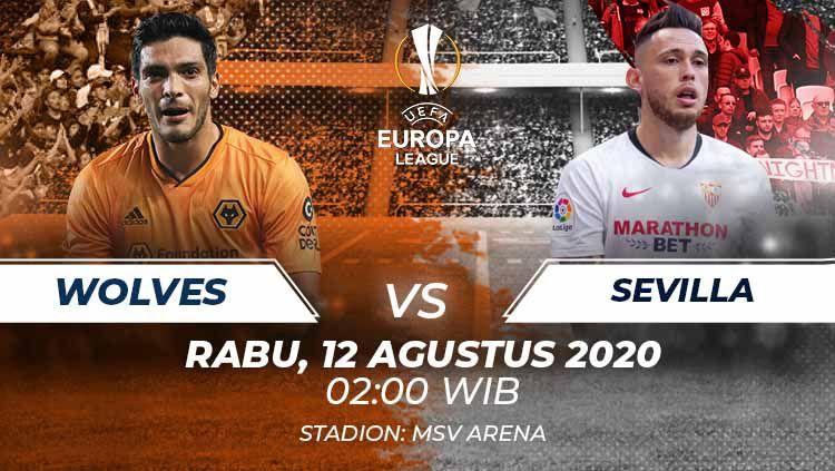 Berikut link live streaming pertandingan perempatfinal Liga Europa 2019/20 antara Wolves vs Sevilla, Rabu (12/08/20) dini hari WIB. Copyright: © Grafis:Frmn/Indosport.com