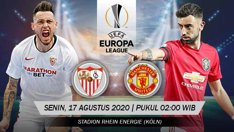 Berikut link live streaming pertandingan semifinal Liga Europa antara Sevilla vs Manchester United, Senin (17/08/20) pukul 02.00 dini hari WIB. Copyright: © Grafis: Yanto/INDOSPORT