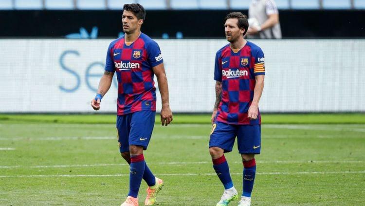 Momen kebersamaan Luis Suarez dan Lionel Messi saat di Barcelona Copyright: © David S. Bustamante/Soccrates/Getty Images
