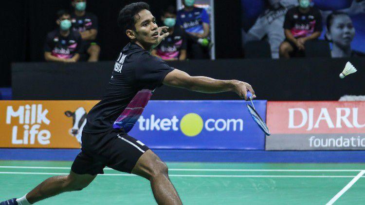 Chico Aura Dwi Wardoyo di turnamen simulasi Piala Thomas 2020. Copyright: © Badminton Indonesia