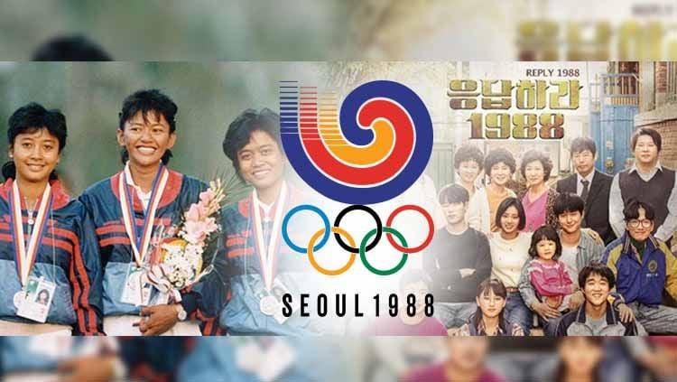 Dalam drama Korea (drakor) Reply 1988 ditampilkan sepenggal momen Olimpiade Seoul yang sangat bersejarah bagi dunia olahraga Indonesia. Copyright: © Grafis:Frmn/Indosport.com