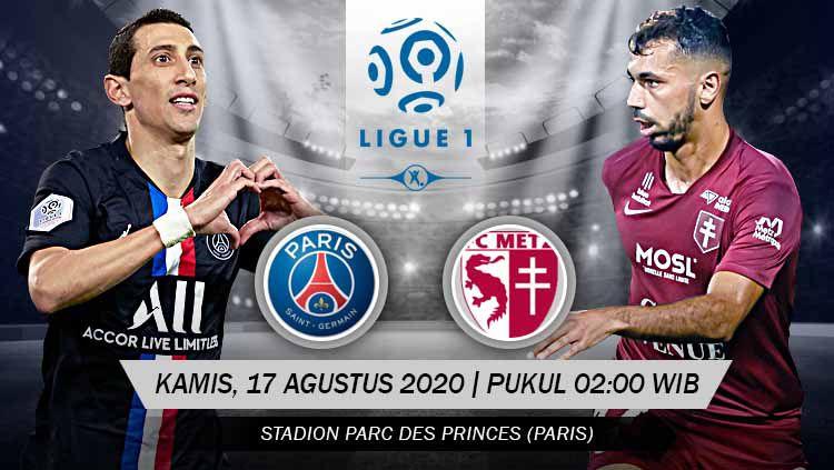 Berikut prediksi pertandingan antara Paris Saint-Germain (PSG) vs Metz di Ligue 1 Prancis 2020/21 pada Kamis (17/09/20) dini hari WIB. Copyright: © Grafis: Yanto/INDOSPORT