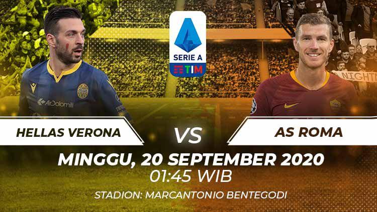Berikut tersaji prediksi pertandingan Serie A Liga Italia 2020/21 antara Hellas Verona vs AS Roma yang akan berlangsung pada Minggu (20/09/20) pukul 01.45 WIB. Copyright: © Grafis:Frmn/Indosport.com