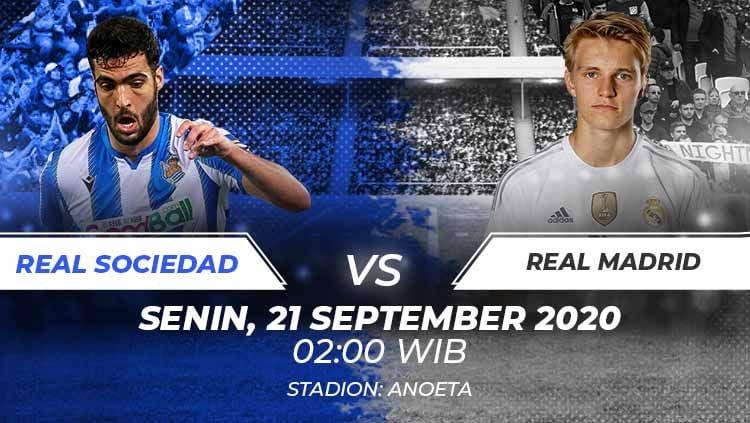 Berikut link live streaming untuk menyaksikan pertandingan LaLiga Spanyol antara Real Sociedad vs Real Madrid yang bergulir Senin (21/09/20) dinihari WIB. Copyright: © Grafis:Frmn/Indosport.com