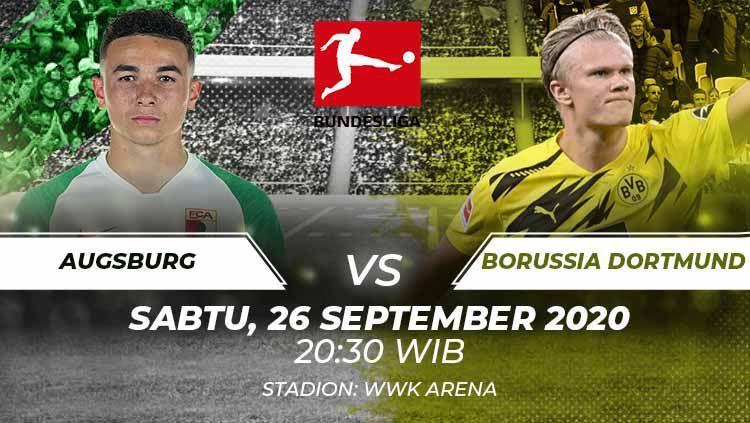 Berikut prediksi pertandingan pekan ke-2 Bundesliga Jerman antara Augsburg vs Borussia Dortmund, Sabtu (26/09/20) malam WIB. Copyright: © Grafis:Frmn/Indosport.com