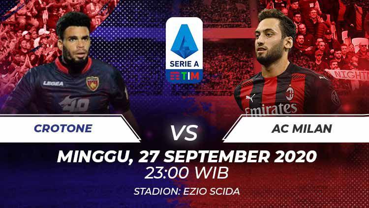 Berikut link live streaming pertandingan antara Crotone vs AC Milan di pekan ke-2 Serie A Italia 2020/21 pada Minggu (27/09/20) pukul 23.00 WIB. Copyright: © Grafis:Frmn/Indosport.com