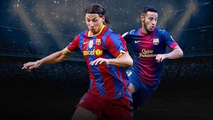 Zlatan Ibrahimovic dan Thiago Alcantara saat masih membela Barcelona. Copyright: © Grafis: Yanto/Indosport.com