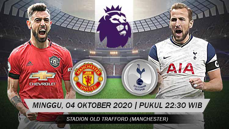 Berikut prediksi pertandingan pekan keempat Liga Inggris antara Manchester United vs Tottenham Hotspur yang akan digelar Minggu (04/10/20) pukul 22.30 WIB Copyright: © Grafis: Yanto/Indosport.com