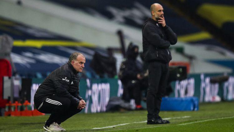 Manchester City harus gigit jari, secara mengejutkan mereka dijungkalkan oleh Leeds United di kandang sendiri. Copyright: © Robbie Jay Barratt - AMA/Getty Images