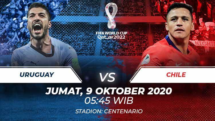Berikut link live streaming pertandingan kualifikasi Piala Dunia 2022 yang akan mempertemukan Uruguay vs Chile. Copyright: © Grafis:Frmn/Indosport.com