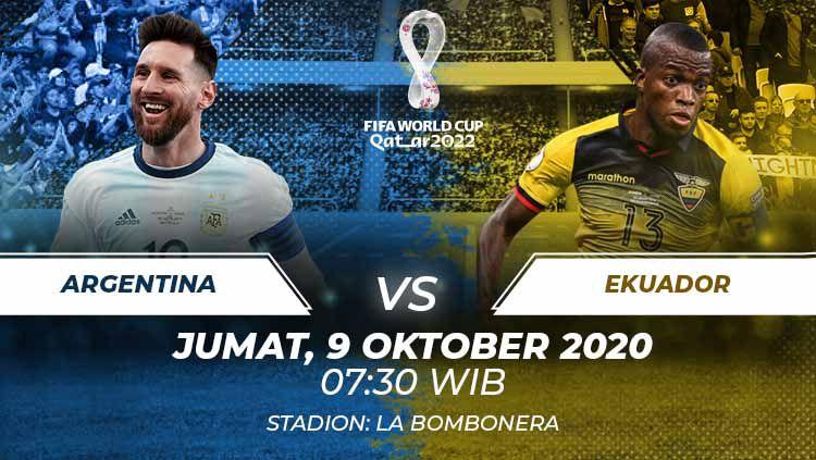 Berikut prediksi pertandingan Argentina vs Ekuador di ajang kualifikasi Piala Dunia 2022 zona Amerika Selatan di Stadion Alberto J. Armando. Copyright: © Grafis:Frmn/Indosport.com