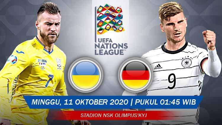 Berikut link live streaming pertandingan UEFA Nations League 2020 yang mempertemukan Ukraina vs Jerman pada Minggu (11/10/20) pukul 01.45 dini hari WIB. Copyright: © Grafis: Yanto/Indosport.com