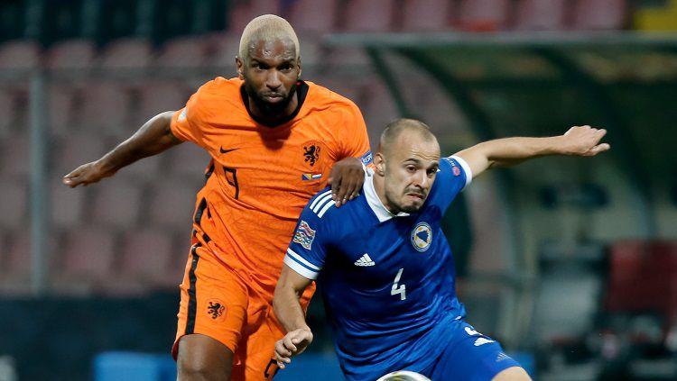 Belanda gagal mencuri tiga poin saat melakoni laga tandang kontra Bosnia-Herzegovina dalam lanjutan UEFA Nations League. Copyright: © Nikola Krstic/Getty Images