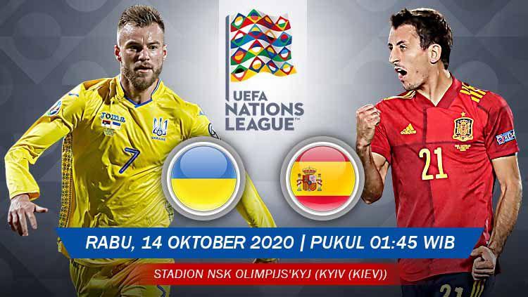 Link live streaming UEFA Nations League antara Ukraina vs Spanyol pada Rabu (14/10/2020) pukul 01.45 dini hari WIB. Copyright: © Grafis: Yanto/Indosport.com