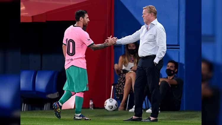 Presiden Barcelona, Joan Laporta, memberikan ultimatum kepada Ronald Koeman usai gagal membawa timnya berjaya di LaLiga Spanyol. Copyright: © Getty Images