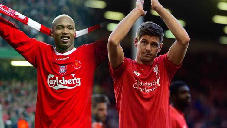 Perseteruan dua eks pemain Liverpool, El Hadji Diouf dan Steven Gerrard. Copyright: © Getty Images