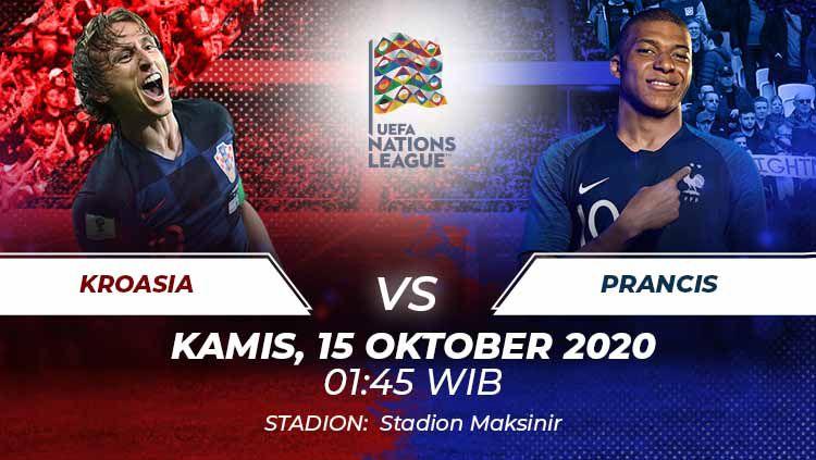 Prediksi pertandingan keempat di Grup 3 UEFA Nations League A 2020/2021 antara Kroasia vs Prancis pada Kamis (15/10/2020) pukul 01.45 dini hari WIB. Copyright: © Grafis:Frmn/Indosport.com