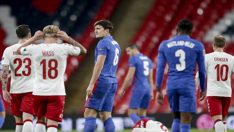 Timnas Inggris menjamu Denmark pada laga UEFA Nations League lanjutan hari ini, Kamis (15/10/20). Berikut hasil lengkap pertandingannya. Copyright: © Robin Jones/Getty Images