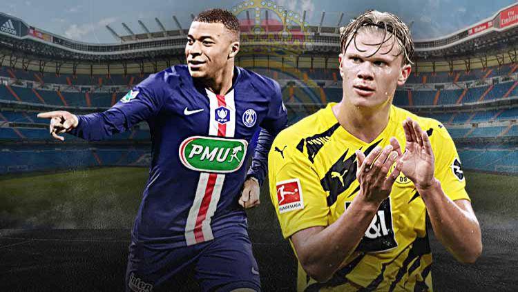 Dapatkan Kylian Mbappe dan Erling Haaland pada bursa transfer musim panas nanti, Real Madrid bakal tumbalkan tujuh bintang. Salah satunya ada nama tak terduga. Copyright: © Grafis: Yanto/Indosport.com