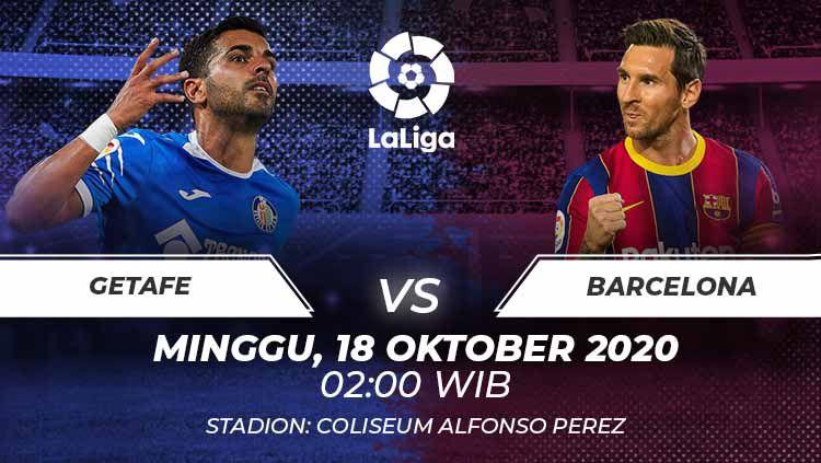 Berikut link live streaming pertandingan LaLiga Spanyol pekan ke-6 yang akan mempertemukan Getafe vs Barcelona. Copyright: © Grafis:Frmn/Indosport.com