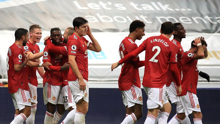 (ilustarasi)Kegembiraan pemain Manchester United usai raih kemenangan. Copyright: © Owen Humphreys - Pool/Getty Images