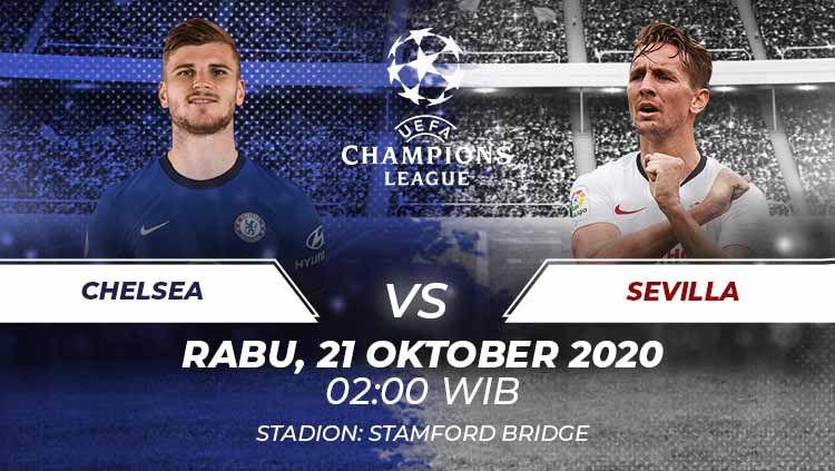 Prediksi pertandingan Liga Champions 2020/21 Grup E antara Chelsea vs Sevilla di Stamford Bridge, Rabu (21/10/20) dini hari WIB. Copyright: © Grafis:Frmn/Indosport.com
