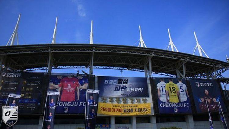 Cheongju Stadium, markas Cheongju FC yang tertarik mendatangkan 3 pemain Indonesia. Copyright: © instagram.com/cheongjufc