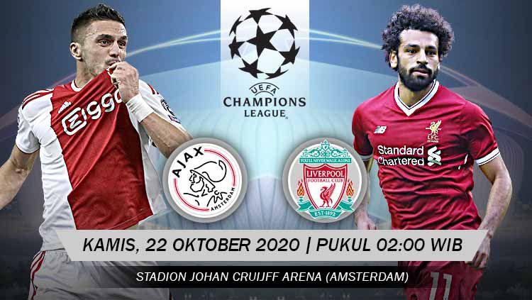 Berikut prediksi pertandingan fase grup Liga Champions antara Ajax vs Liverpool, yang akan digelar di Amsterdam ArenA, Kamis (22/10/20) dini hari WIB. Copyright: © Grafis: Yanto/Indosport.com