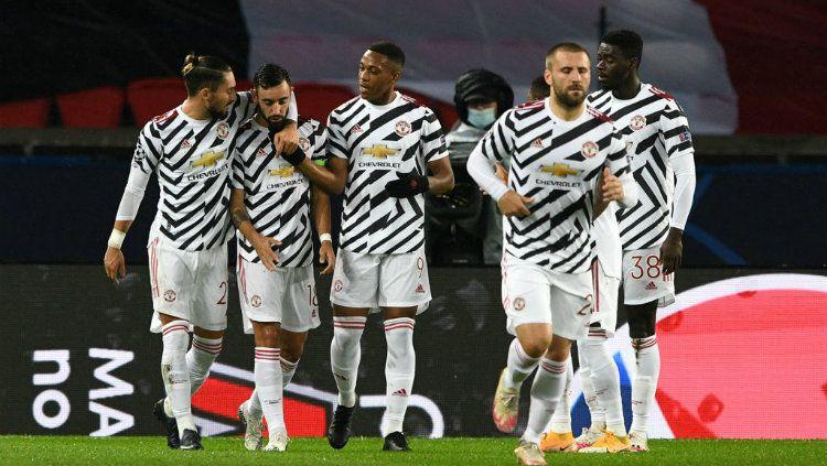 Terdapat tiga fakta luar biasa usai Manchester United mengalahkan Paris Saint-Germain (PSG) dengan skor 2-1 di Liga Champions, Rabu (21/10/20) dini hari WIB. Copyright: © Chris Ricco - UEFA/UEFA via Getty Images
