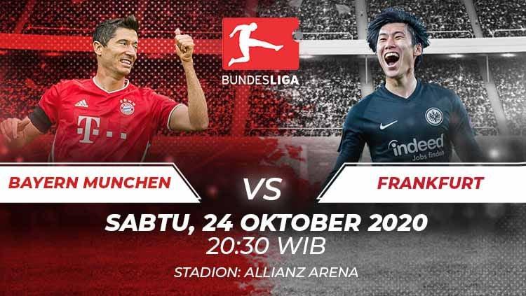 Berikut prediksi pertandingan Bundesliga Jerman musim 2020/2021 yang akan mempertemukan antara Bayern Munchen vs Eintracht Frankfurt. Copyright: © Grafis:Frmn/Indosport.com