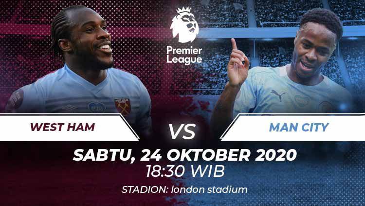 Berikut prediksi pertandingan West Ham United vs Manchester City di ajang Liga Inggris pekan ke-6, Sabtu (24/10/2020) pukul 18.30 WIB. Copyright: © Grafis:Frmn/Indosport.com