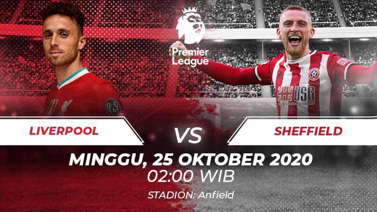 Berikut prediksi pertandingan Liga Inggris antara Liverpool vs Sheffield United yang bakal digelar di Anfield, Minggu (25/10/20) dini hari WIB. Copyright: © Grafis:Frmn/Indosport.com