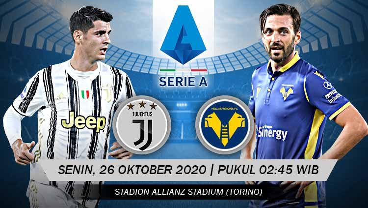 Berikut tersaji prediksi pertandingan sepak bola Serie A Liga Italia 2020-2021 antara Juventus vs Hellas Verona yang akan berlangsung pada Senin (26/10/20). Copyright: © Grafis: Yanto/Indosport.com