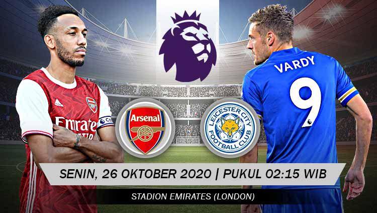 Berikut prediksi pertandingan pekan keenam kompetisi Liga Inggris musim 2020-2021 antara tuan rumah Arsenal vs Leicester City. Copyright: © Grafis: Yanto/Indosport.com